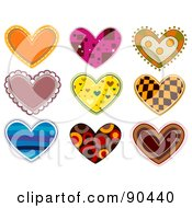 Digital Collage Of Colorful Heart Patches And Designs - Version 2