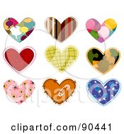 Digital Collage Of Colorful Heart Patches And Designs - Version 3