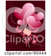 Royalty Free RF Clipart Illustration Of Pink Heart Balloons And A Card Over Red Stripes