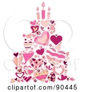 Royalty Free RF Clipart Illustration Of A Pink Cake Made Of Heart Doodles And Candles