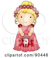 Royalty Free RF Clipart Illustration Of A Cute Blond Wedding Flower Girl In A Pink Dress by BNP Design Studio