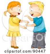 Royalty Free RF Clipart Illustration Of A Boy And A Girl Playing A Hand Game