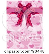 Royalty Free RF Clipart Illustration Of A Pink Valentine Heart Background With A Ribbon And Bow