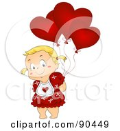 Royalty Free RF Clipart Illustration Of A Cute Blond Girl Hiding Heart Shaped Balloons Behind Her Back