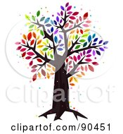Royalty Free RF Clipart Illustration Of A Sparkly Tree With Rainbow Colored Leaves by BNP Design Studio