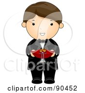 Royalty Free RF Clipart Illustration Of A Brunette Wedding Ring Bearer Boy In A Tuxedo