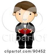 Royalty free rf clipart illustration of a brunette wedding ring bearer