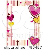 Royalty Free RF Clipart Illustration Of A Border Of Pink And Yellow Valentine Hearts And Stripes Around White by BNP Design Studio