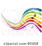 Royalty Free RF Clipart Illustration Of A Wavy Musical Rainbow With Notes by BNP Design Studio