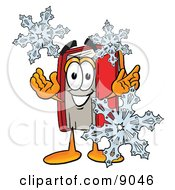 Clipart Picture Of A Red Book Mascot Cartoon Character With Three Snowflakes In Winter