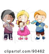 Royalty Free RF Clipart Illustration Of A Group Of Three Diverse Children Holding Toys And Smiling