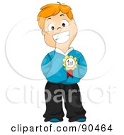 Royalty Free RF Clipart Illustration Of A Proud Red Haired School Boy Wearing A Medal On His Shirt