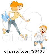 Royalty Free RF Clipart Illustration Of A Mom Chasing After Her Hyper Son