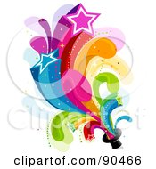 Royalty Free RF Clipart Illustration Of A Rainbow Star Burst From A Hat by BNP Design Studio