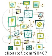 Royalty Free RF Clipart Illustration Of A Background Of Framed Flowers And Leaves by BNP Design Studio