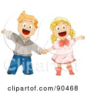 Happy Boy And Girl Holding Hands And Waving