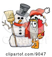 Clipart Picture Of A Red Book Mascot Cartoon Character With A Snowman On Christmas