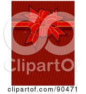 Royalty Free RF Clipart Illustration Of A Red Bow And Ribbon Over Red Stripes