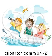 Royalty Free RF Clipart Illustration Of A Diverse Group Of Kids Watching Flying Fish And Sailing In A Paper Boat by BNP Design Studio