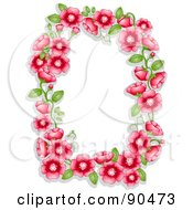 Royalty Free RF Clipart Illustration Of A Frame Of Red Flowers And Green Leaves Around White