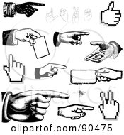 Royalty Free RF Clipart Illustration Of A Digital Collage Of Black And White Hands Pointing Holding And Gesturing