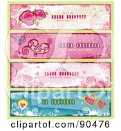 Royalty Free RF Clipart Illustration Of A Digital Collage Of Grungy Valentines Day Website Banners With Roses And Hearts by Anja Kaiser