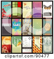 Digital Collage Of 15 Retro Styled Vertical Business Cards