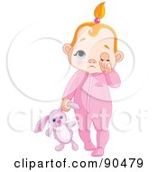 Royalty Free RF Clipart Illustration Of A Red Haired Baby Girl Rubbing Her Eye And Carrying A Stuffed Bunny