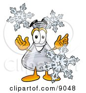 Clipart Picture Of An Erlenmeyer Conical Laboratory Flask Beaker Mascot Cartoon Character With Three Snowflakes In Winter