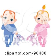 Royalty Free RF Clipart Illustration Of A Digital Collage Of A Baby Boy Sucking His Thumb And A Girl Rubbing Her Eye Both Carrying Stuffed Bunnies by Pushkin