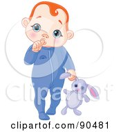 Royalty Free RF Clipart Illustration Of A Red Haired Baby Boy Sucking His Thumb And Carrying A Stuffed Bunny