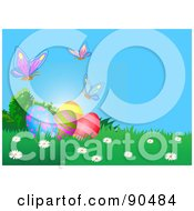 Royalty Free RF Clipart Illustration Of Butterflies Over Decorated Easter Eggs In The Grass by Pushkin