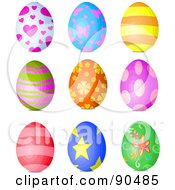 Royalty Free RF Clipart Illustration Of A Digital Collage Of Heart Butterfly Stripe Floral Spot And Star Patterned Easter Eggs by Pushkin