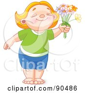 Royalty Free RF Clipart Illustration Of A Cute Red Haired Girl Or Boy Smiling And Holding Out Daisies by Pushkin