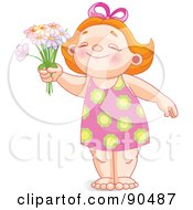 Royalty Free RF Clipart Illustration Of A Cute Red Haired Girl Smiling And Holding Up Daisies by Pushkin