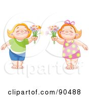 Royalty Free RF Clipart Illustration Of A Digital Collage Of Cute Red Haired Children Smiling And Holding Out Daisies
