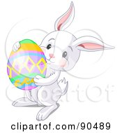 Royalty Free RF Clipart Illustration Of A Cute White Bunny Carrying A Colorful Easter Egg by Pushkin
