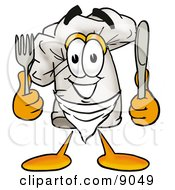 Chefs Hat Mascot Cartoon Character Holding A Knife And Fork
