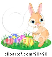 Royalty Free RF Clipart Illustration Of A Cute Beige Bunny Rabbit In Grass By Easter Eggs by Pushkin