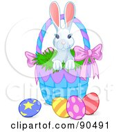Royalty Free RF Clipart Illustration Of A Cute White Bunny Looking Out Of A Blue Easter Basket