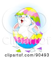 Royalty Free RF Clipart Illustration Of A Cute White Bunny Cracking Out Of A Colorful Easter Egg