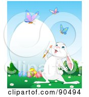 Cute White Bunny Watching Butterflies And Decorating A Large Easter Egg