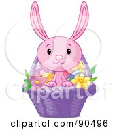 Royalty Free RF Clipart Illustration Of A Cute Pink Bunny Looking Out Of A Purple Easter Basket