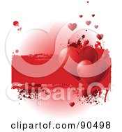 Royalty Free RF Clipart Illustration Of A Grungy Valentines Day Background With Shiny Red Hearts And A Text Box Over White by Pushkin