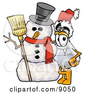 Clipart Picture Of An Erlenmeyer Conical Laboratory Flask Beaker Mascot Cartoon Character With A Snowman On Christmas by Toons4Biz