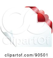 Royalty Free RF Clipart Illustration Of A Red Heart Ribbon In The Corner Of A Turning White Page