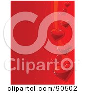 Royalty Free RF Clipart Illustration Of A Red Heart Background With Shiny Hearts And Swooshes On The Right