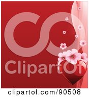 Red Valentines Day Background With Pink Blossoms And A Heart