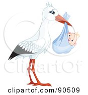Royalty Free RF Clipart Illustration Of A White And Black Stork Carrying A Bundled Baby Boy by Pushkin