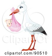 Royalty Free RF Clipart Illustration Of A White And Black Stork Carrying A Bundled Baby Girl by Pushkin